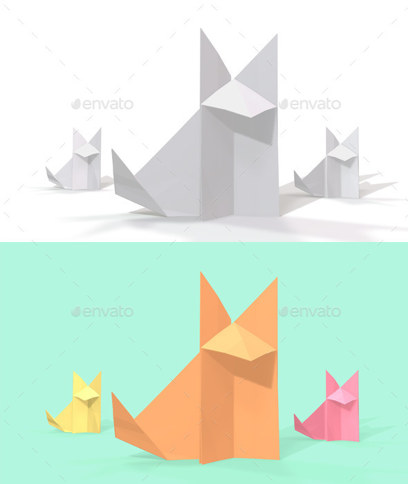 Polygon Origami Fox - Characters 3D Renders