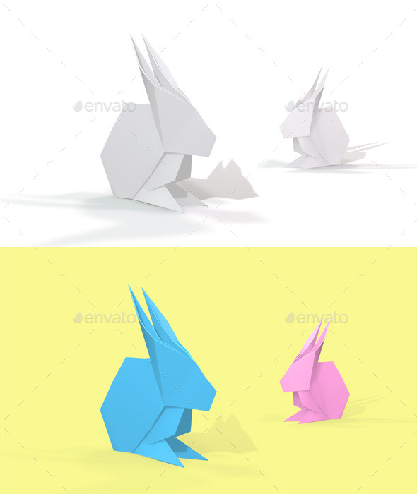 Polygon Origami Rabbit - Characters 3D Renders