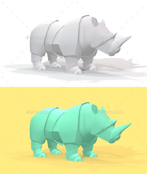 Polygon Origami Rhino - Characters 3D Renders