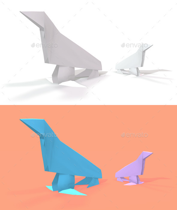 Polygon Origami Sea Lion - Characters 3D Renders