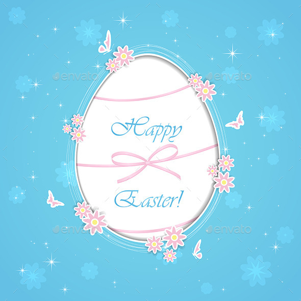 Blue Paper Easter Egg - Backgrounds Decorative