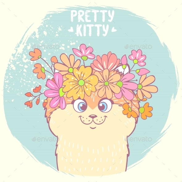 Kitten with Flowers - Animals Characters