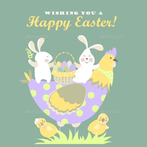 Easter bunnies,chicken and easter eggs  - Miscellaneous Seasons/Holidays