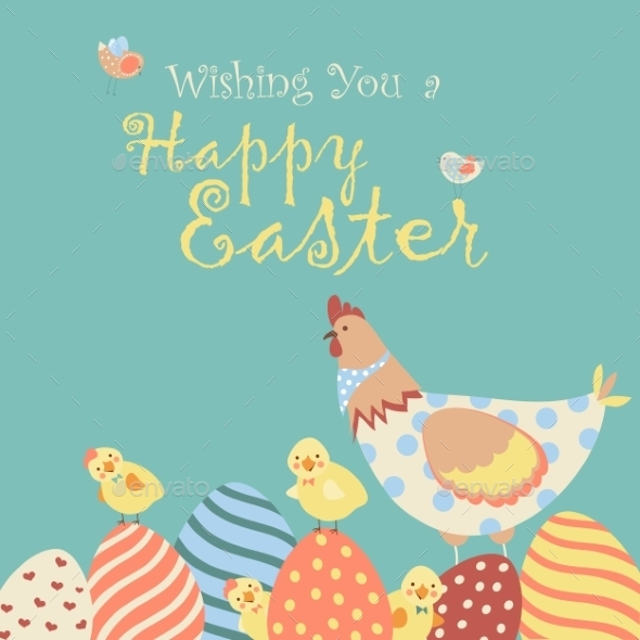 Easter Chicken with Easter Eggs - Seasons/Holidays Conceptual
