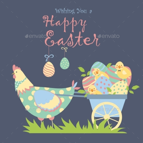 Easter Chicken with Easter Eggs - Miscellaneous Seasons/Holidays