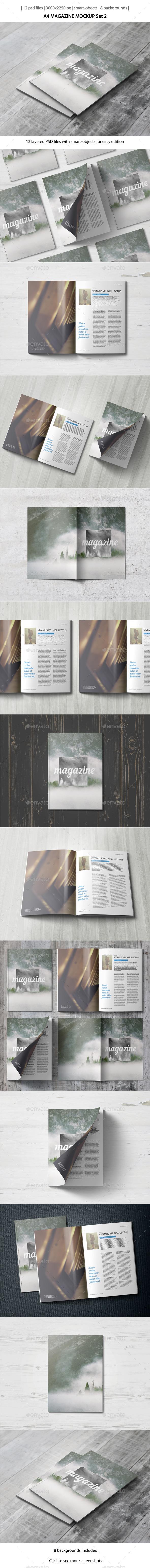 A4 Magazine Mockup - Set 2 - Magazines Print