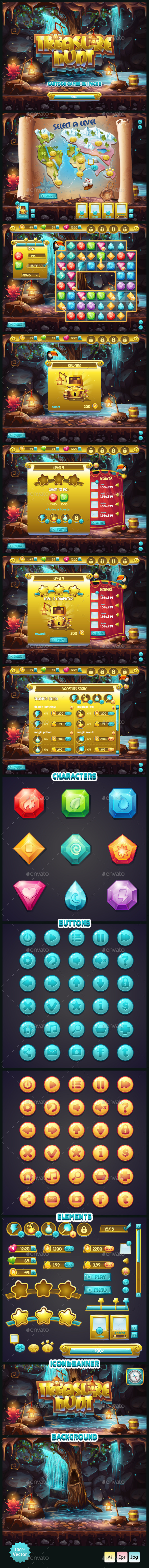 GUI Treasure Hunt - User Interfaces Game Assets