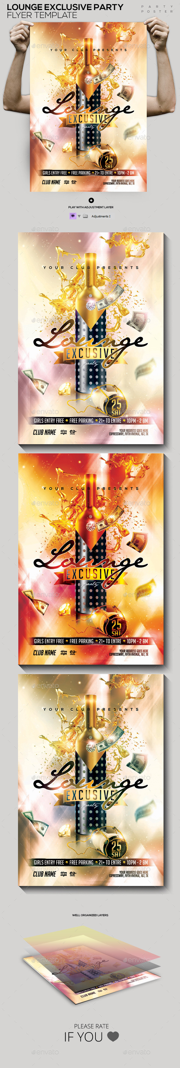 Lounge Exclusive Champagne Template Flyer/Poster - Clubs & Parties Events