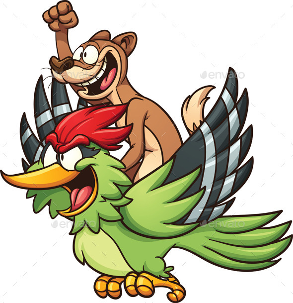 Weasel Riding Woodpecker - Animals Characters