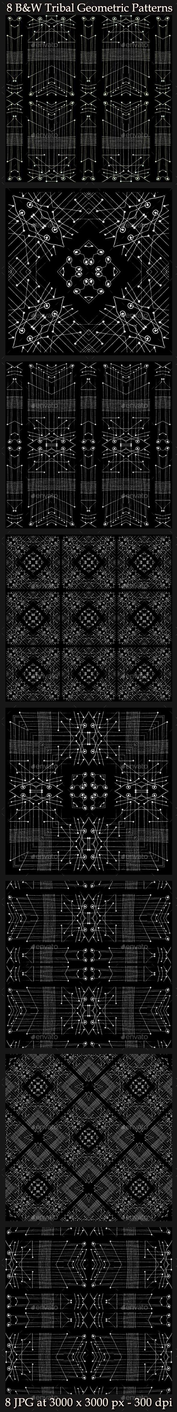 8 Tribal Geometric Patterns - Patterns Backgrounds