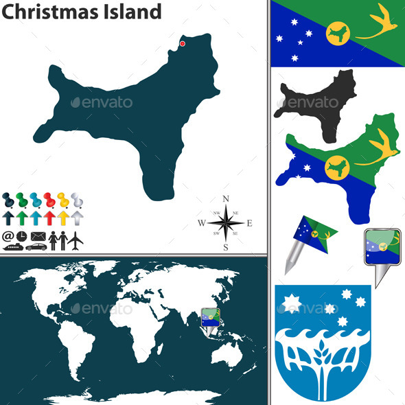 Map of Christmas Island - Travel Conceptual