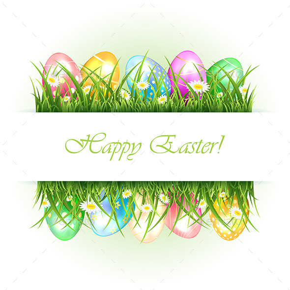 Background with Grass and Easter Eggs - Seasons Nature