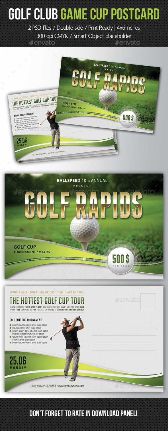 Golf Club Game Cup Postcard V01 - Cards & Invites Print Templates