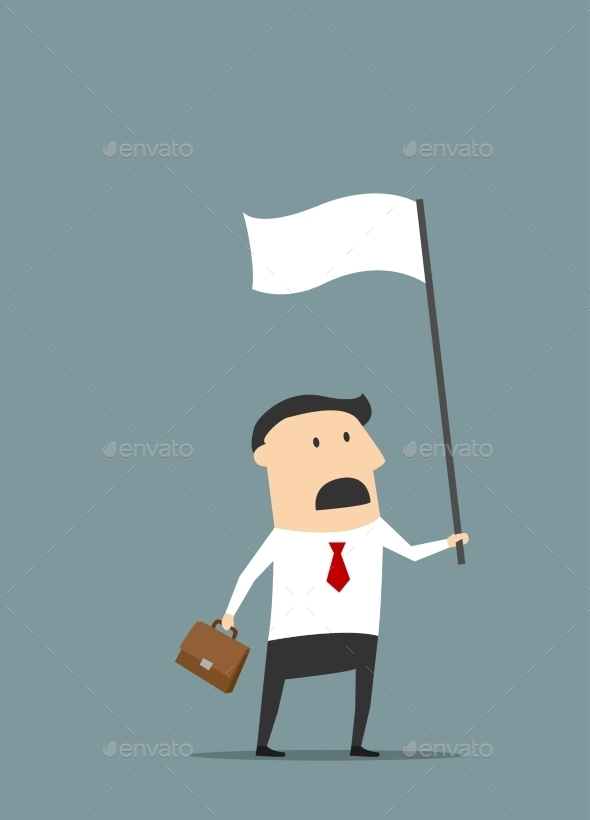 Cartoon Businessman with White Flag - Business Conceptual