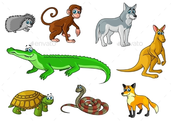 Cartoon Forest and Jungle Wild Animals  - Animals Characters
