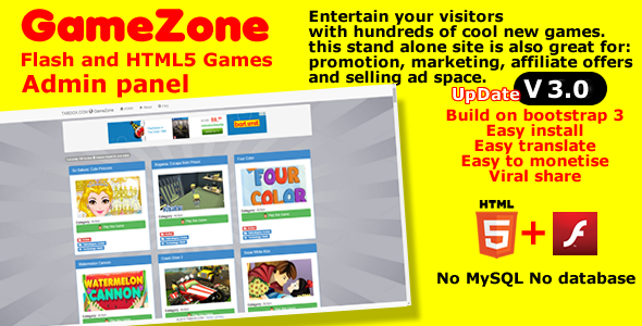 GameZone Flash and HTML5 stand alone game site - CodeCanyon Item for Sale