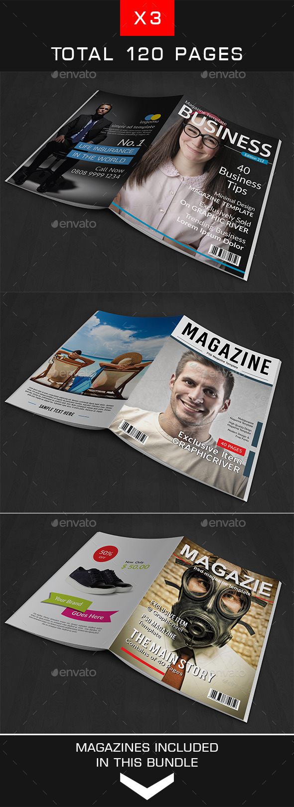 A4 Magazine Bundle Vol. 3 - Magazines Print Templates