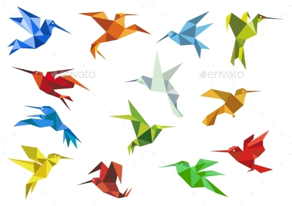 Abstract Origami Hummingbirds - Animals Characters