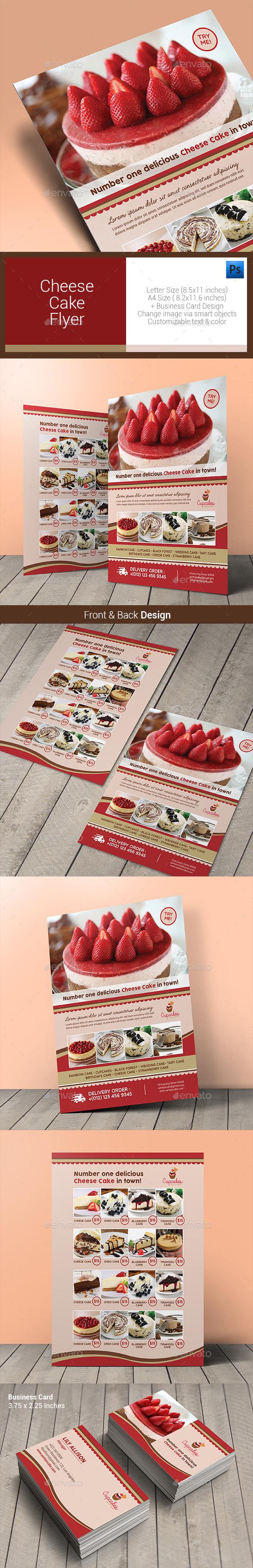 Cheese Cake Menu Flyer - Food Menus Print Templates