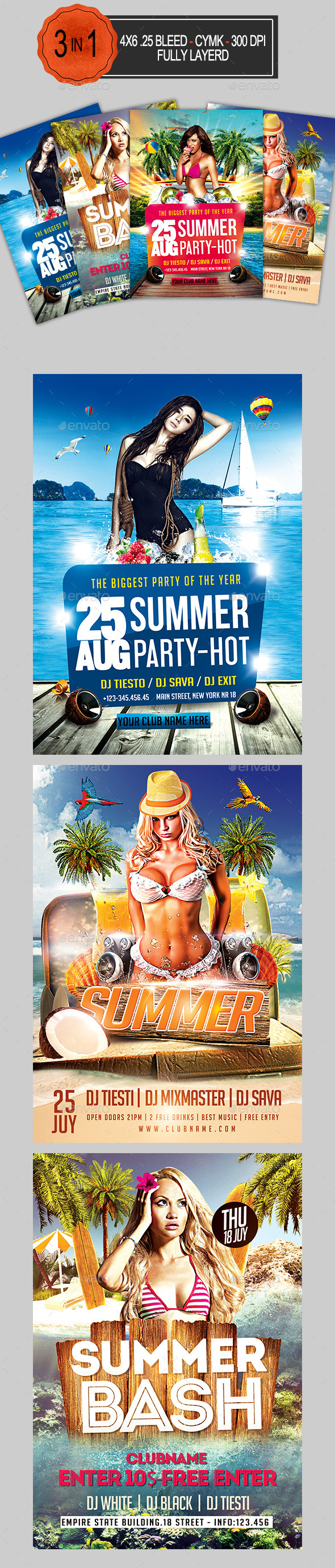 3in1 Summer Flyer Bundle - Clubs & Parties Events