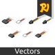 Isometric Computer Connectors - GraphicRiver Item for Sale