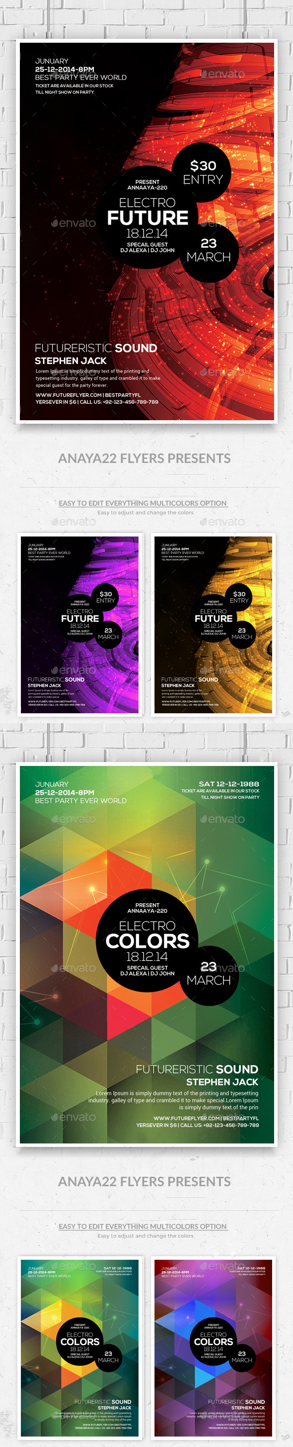Minimal Abstract Futuristic Psd Flyers Bundle - Clubs & Parties Events