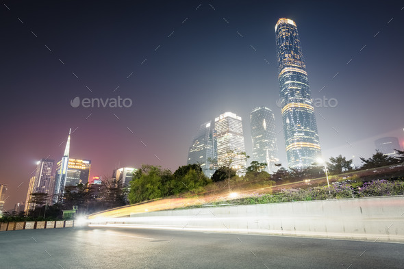 guangzhou pearl river new town at night - Stock Photo - Images