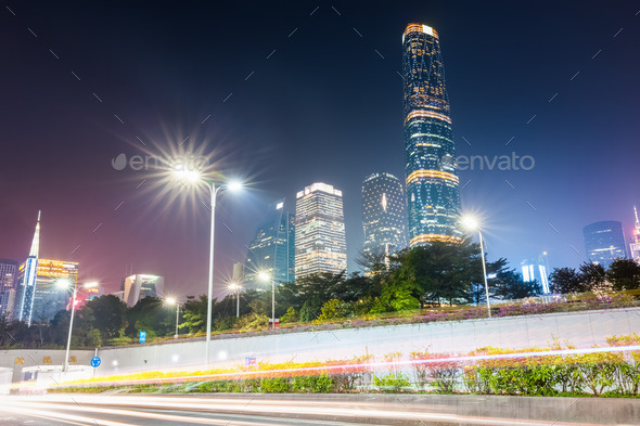 pearl river new town at night - Stock Photo - Images