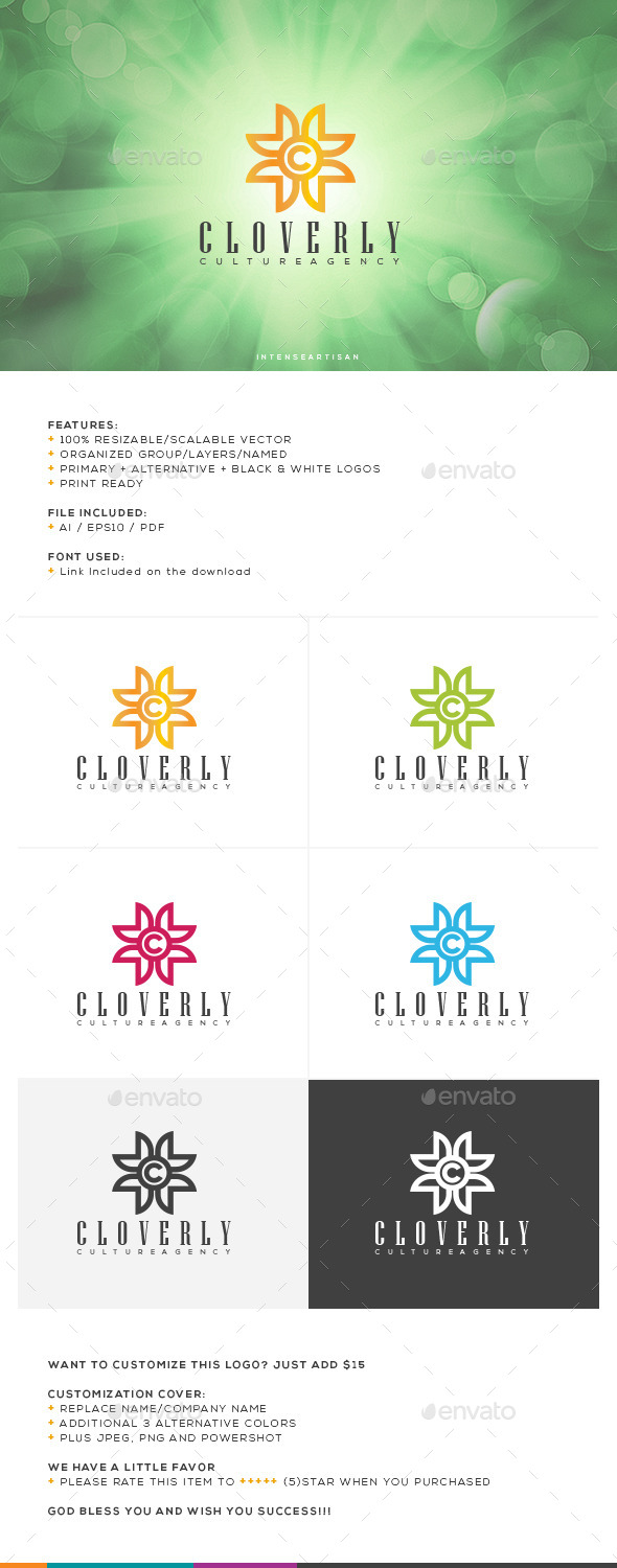 Cloverly Logo Template - Nature Logo Templates
