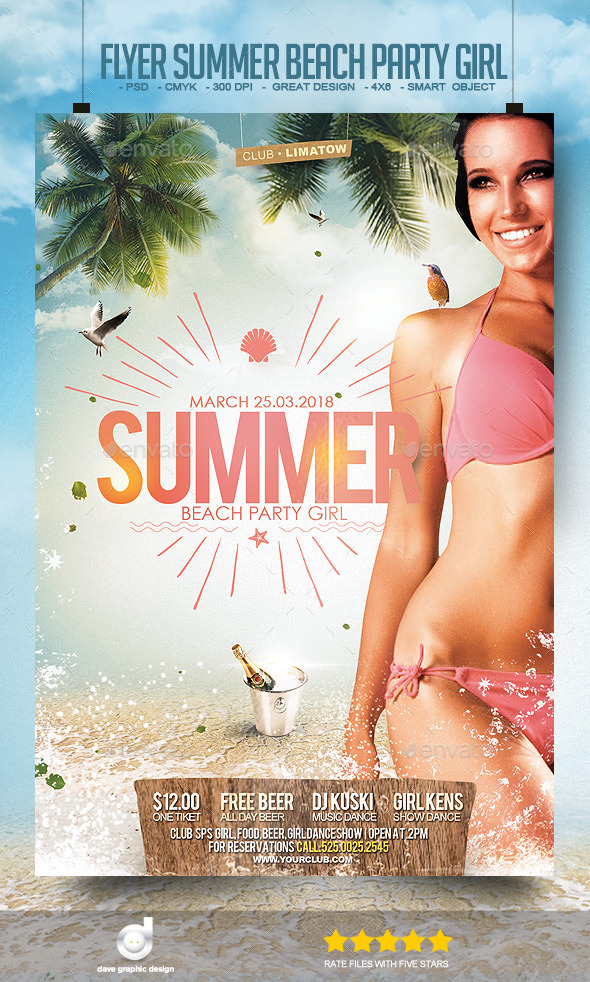 Flyer Summer Beach Party Girl - Clubs & Parties Events