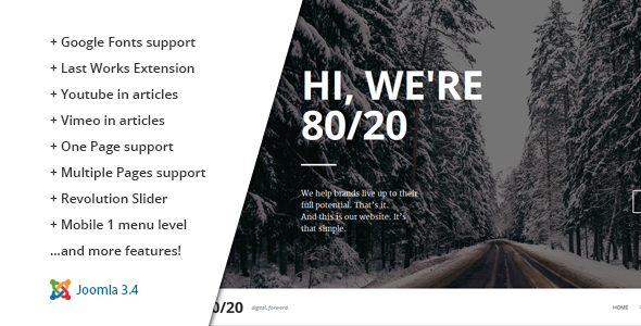 80/20 :: Responsive Joomla One-Page Template