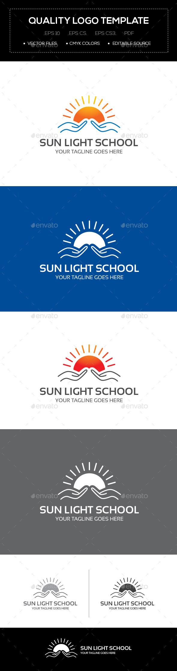 Sun Light School Logo Template - Logo Templates