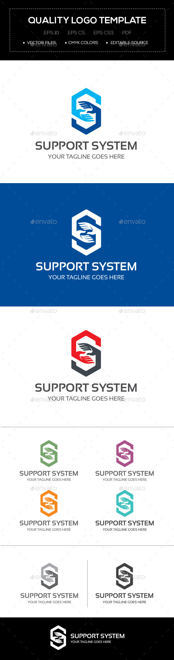 Support System Logo Template - Abstract Logo Templates