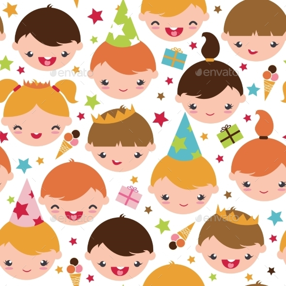 Kids at a Birthday Party Seamless Pattern - Patterns Decorative