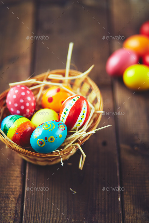 All eggs in a basket - Stock Photo - Images