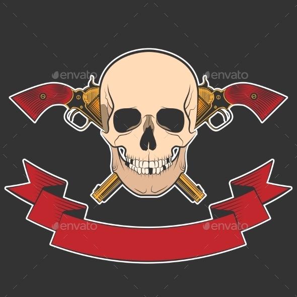 Skull and Revolvers - Tattoos Vectors
