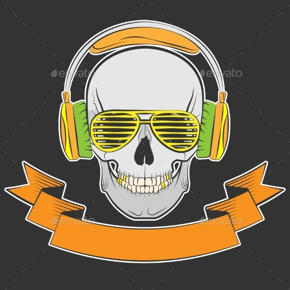 Skull with Headphones and Sunglasses - Tattoos Vectors