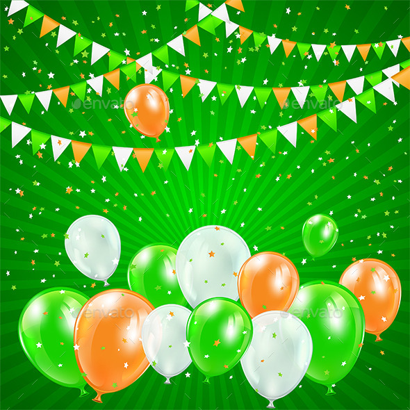 Patricks Day Balloons and Confetti - Backgrounds Decorative
