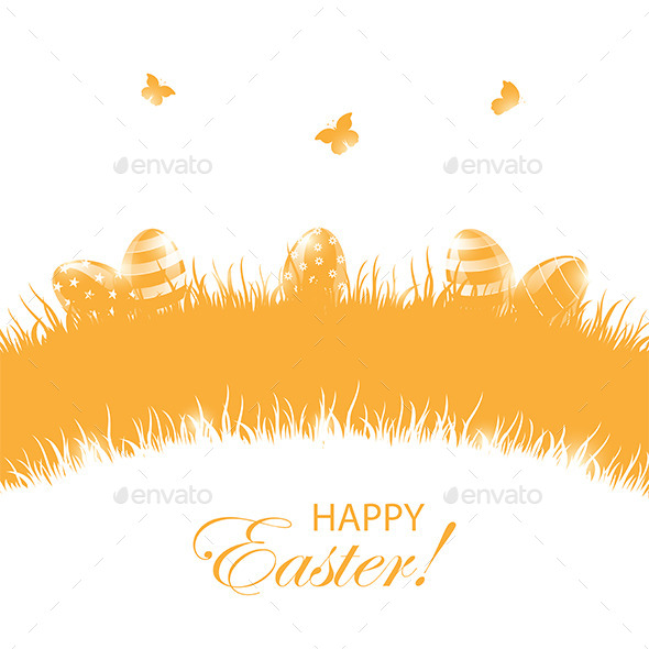 Orange Background with Easter Eggs - Backgrounds Decorative