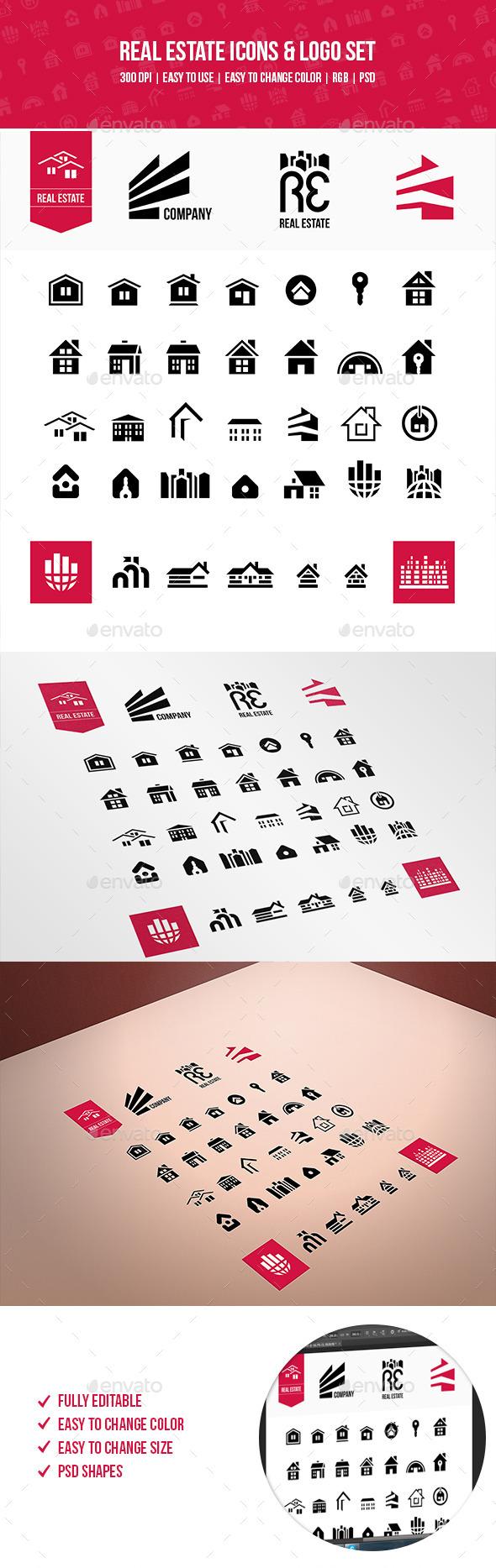 Real Estate Icons & Logo Set  - Icons