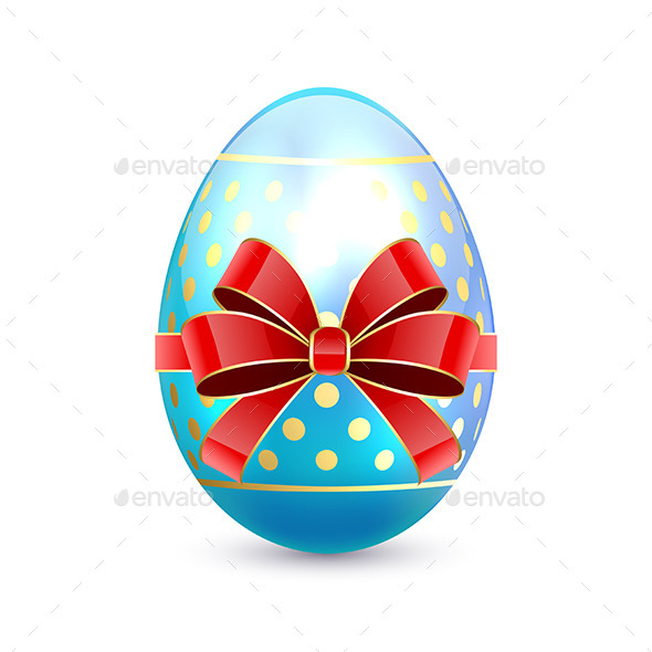 Easter Egg with Red Bow - Man-made Objects Objects