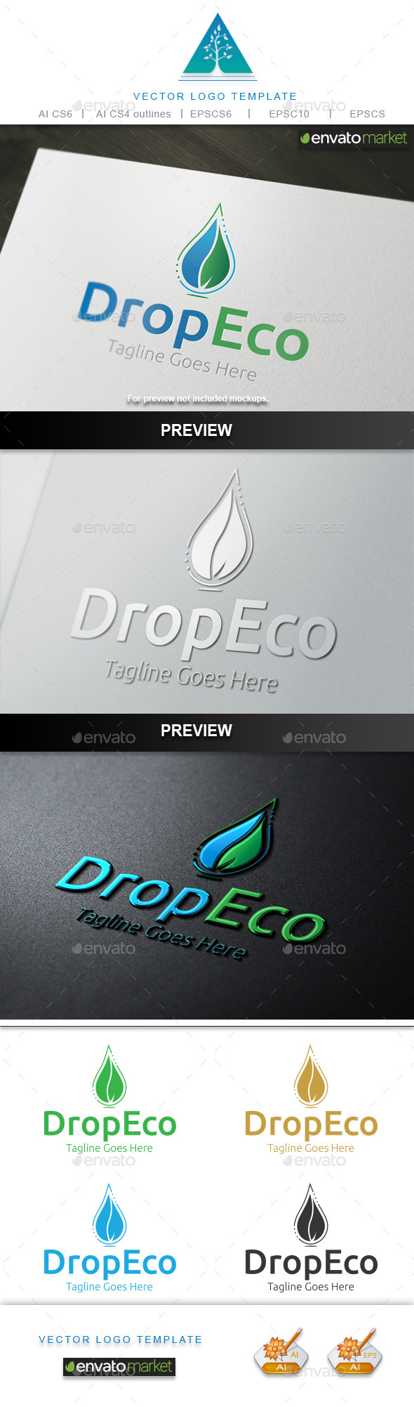 Drop Eco Logo - Nature Logo Templates