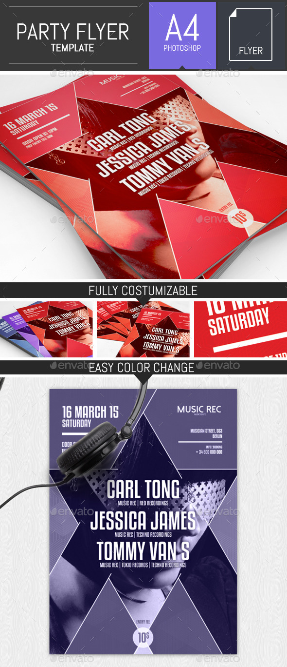 Geometric Party Flyer Template - Clubs & Parties Events