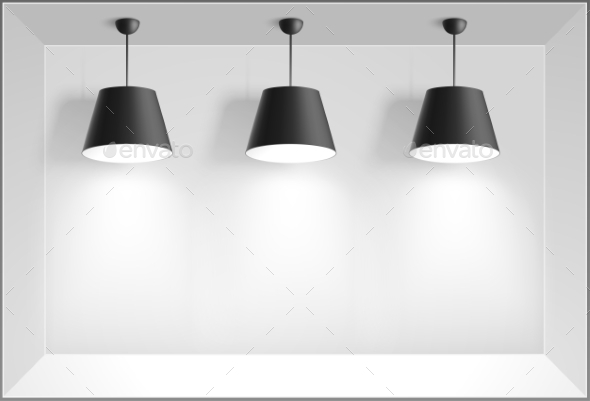 Black Ceiling Lamps - Objects Vectors