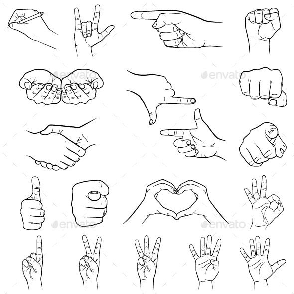 Hand Gestures Set - Miscellaneous Vectors