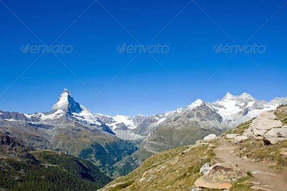 Matterhorn and Nadelhorn - Stock Photo - Images
