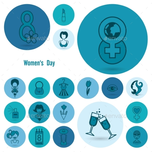 Womans Day Icon Set - Seasons/Holidays Conceptual