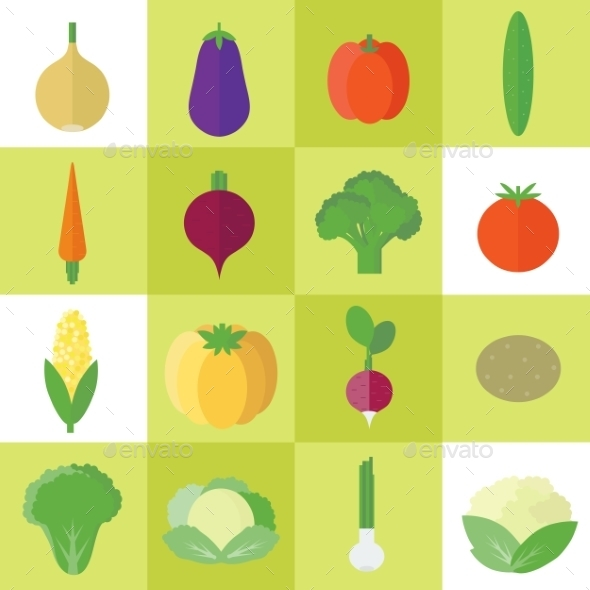 Icons with Vegetables - Food Objects