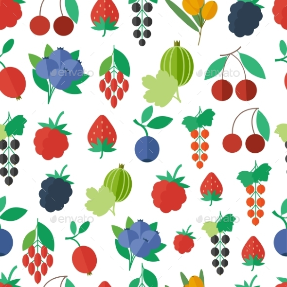 Seamless Pattern with Fruits and Berries - Backgrounds Decorative