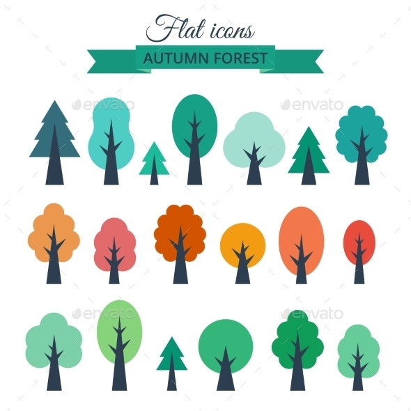 Set with Colored Flat Trees - Organic Objects Objects